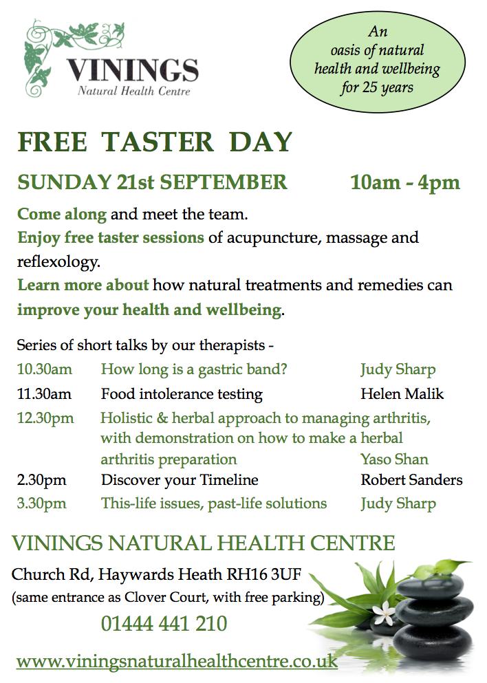 Vinings Taster Day leaflet