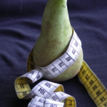 pear with tape measure, portrait